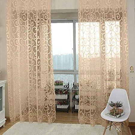 Omkuwl Nouvelle fenêtre en voile de tulle fleuri Beige