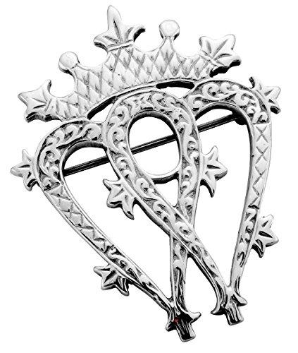 Broche traditionnelle Luckenbooth écossais en argent sterling double coeur avec Détail gravé - 40mm