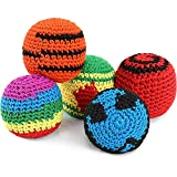 Allure Maek 6 Pieces Hacky Ball Sacks Multicolor Woven Kickball Soft Knitted Kick Balls for Children and Beginners (Multi-Colored)
