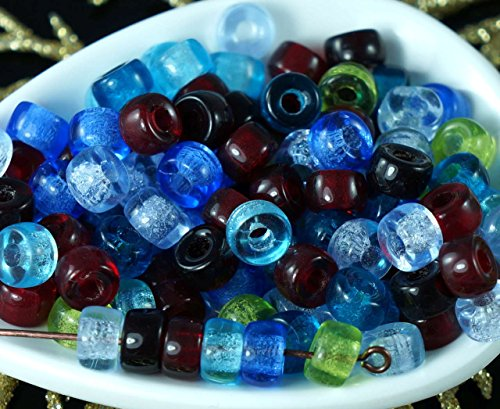 Blue Glass Ring (Multicolor Mix Czech Glass Round Pony Large Hole Beads Ring Roller Crow 6mm x 4mm 60pcs)
