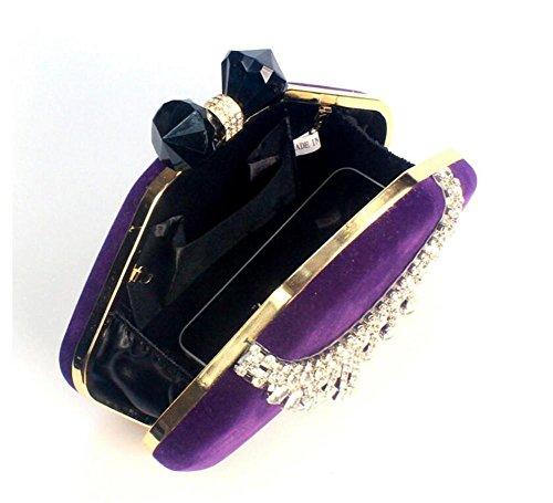 Pochette Velours Soirée à bandoulière De Robe Femme Mariage purple Sacs Multicolore WBAG Sac Chaîne 8AqEpKx