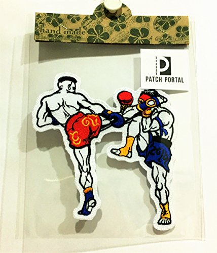 Patch Portal Boxing 5 Inch Sew Iron On Embroidered Patches Muay Thai Boxer DIY Applique Patch-Boxer Sports MMA For Mens Tshirt Jackets Cloth Jeans Vest Shorts by Patch Portal