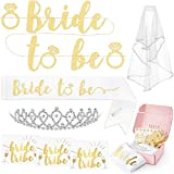 xo, Fetti Bachelorette Party Bride To Be Decorations Kit - Bridal Shower Decorations | Sash For Bride, Rhinestone Tiara, Gold Glitter Banner, Veil + Bride Tribe Tattoos