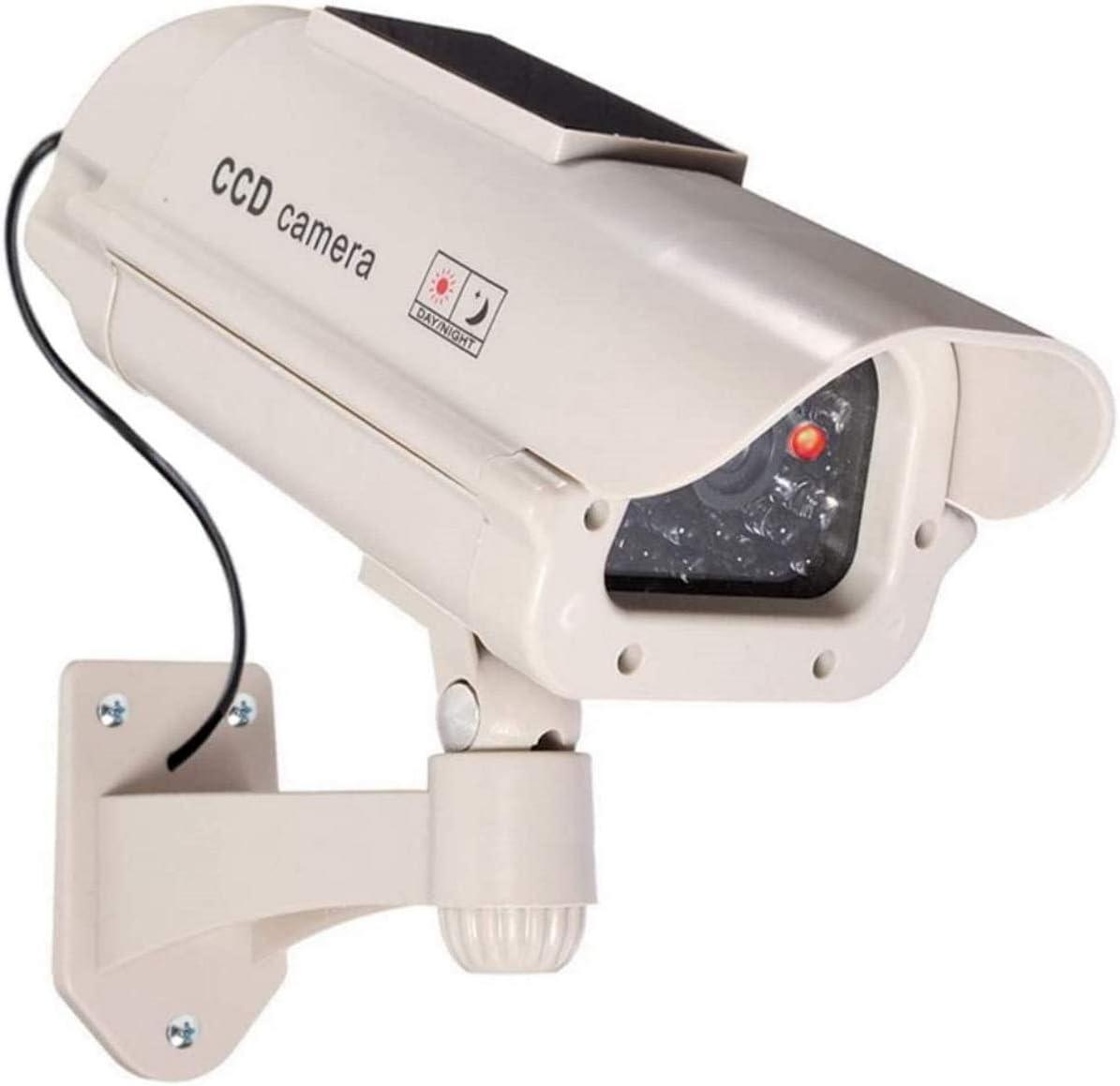 1 cámara falsa grande solar con objetivo con luz intermitente para interior y exterior, impermeable, de alta calidad.