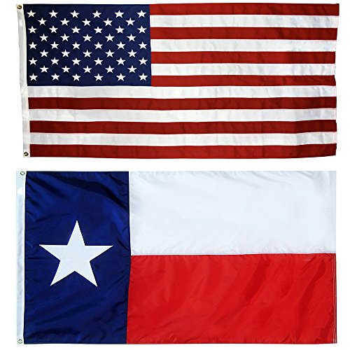 US Flag with Texas State Flag 3 x 5 - 100% American Made - Nylon