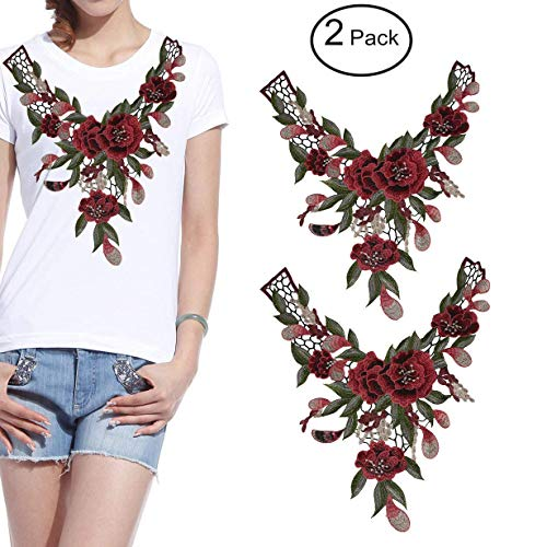 Fashionclubs 2pcs/set Embroidered Venise Lace Neckline Collar Rose Floral Green Leaf Applique Motif Patches For Scrapbooking And Sewing
