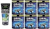 Gillette Body Non Foaming Shave Gel for Men, 5.9 Fl Oz + Sensor3 Refill Blades 8 Ct. (6 Pack) + FREE Assorted Purse Kit/Cosmetic Bag Bonus Gift