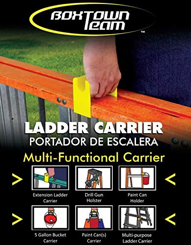 Boxtown Team Ladder Carrier (Yellow), Ladder Handle, Ladder Accessories, Little Giant Handle, Drill Gun Holster, Ladder Paint can Holder, Multipurpose Tool, Multi Function Tool