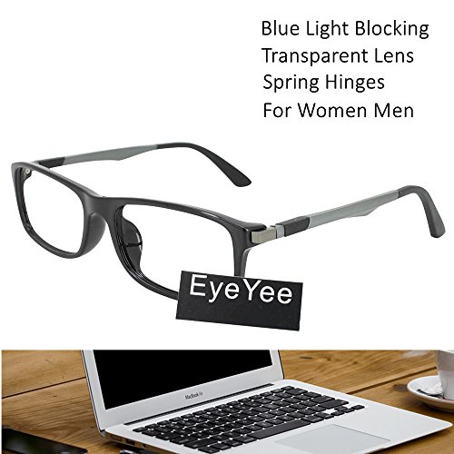 Computer Reading Glasses 0.25 Black Blue Light Filter Block UV Spring Hinge Anti Glare Anti Eye Fatigue Block Headaches Eyewear Gamers Eye Protection Glasses for Computer (0.25 Hinge)