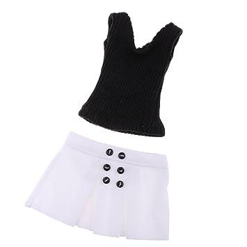1/6 Set de Ropa Chaleco Negro de Punto y Falda Corta Blanca para ...