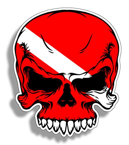 (Scuba Skull Diver Down Flag Face Dive Gear Tank Bag Decal Sticker)