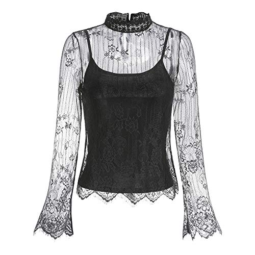 Woven Lace Mesh Blouse Including Sleeveless Draped Jersey Top, 9045T (Black, Large) ()