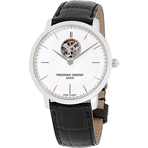 Frederique Constant Men's Slimline Auto Heart Beat Stainless Steel Automatic-self-Wind Watch with Leather Calfskin Strap, Black, 20 (Model: FC-312S4S6)