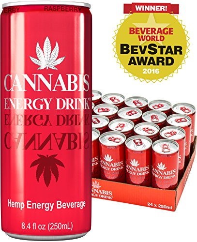 Cannabis Energy Drink, Raspberry, 8.4 Fl Oz Cans, 24 Pack, from Amsterdam - Hemp Seed Extract, Taurine & Caffeine (Vegan, Gluten Free, Beet Sugar), and Made with Spring Water for Amazing Taste.