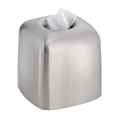 InterDesign Nogu Bath, Facial Tissue Box Cover/Holder for Bathroom Vanity Countertops - Brushed Stainless Steel