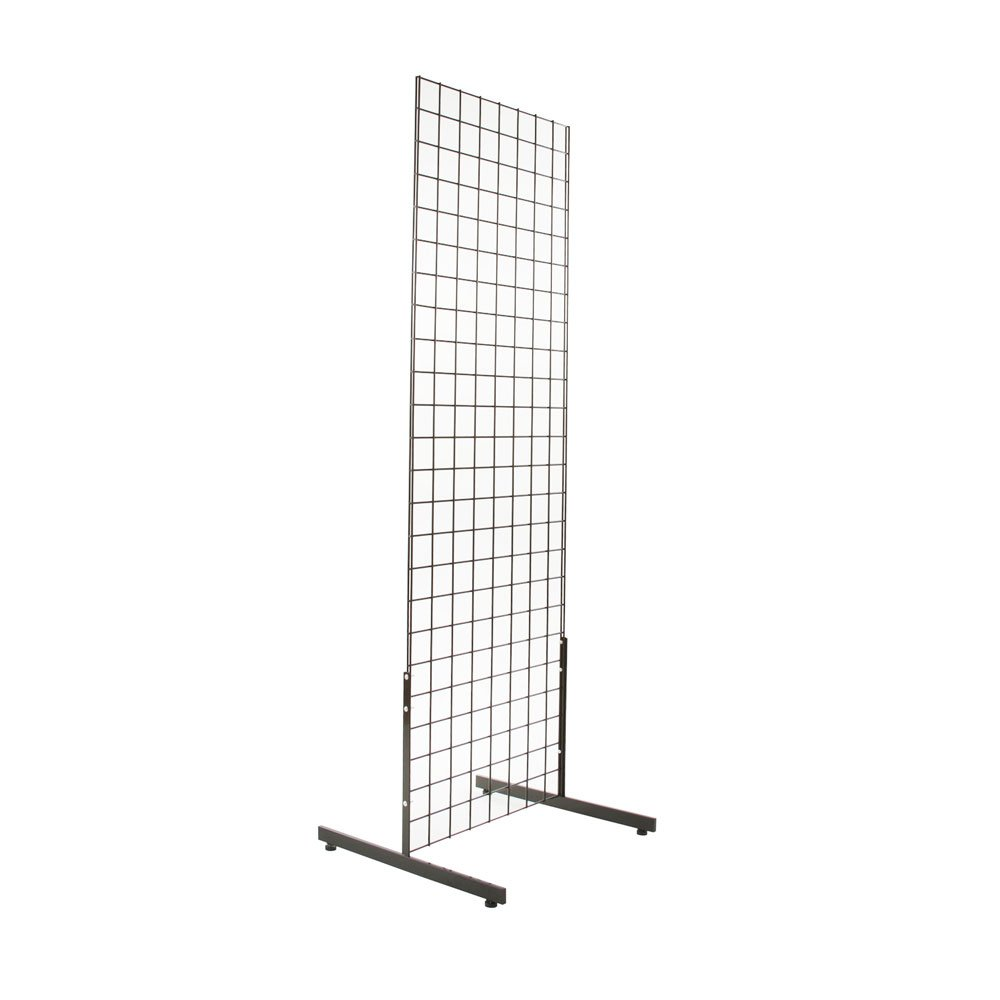 EZ-Mannequins 2' x 6' Gridwall Panel Tower with T-Base Floorstanding Display Kit, Black
