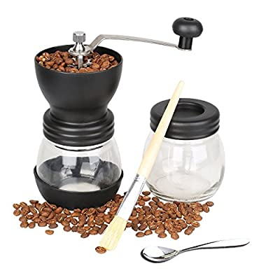 Manual Coffee Grinder, LuPrine Hand Crank Coffee Mill Advanced Adjustable Grinder Hand-Ground Coffee Taste Best, Quiet and Portable Conical Ceramic Burr(350ml/12oz) from LuPrine