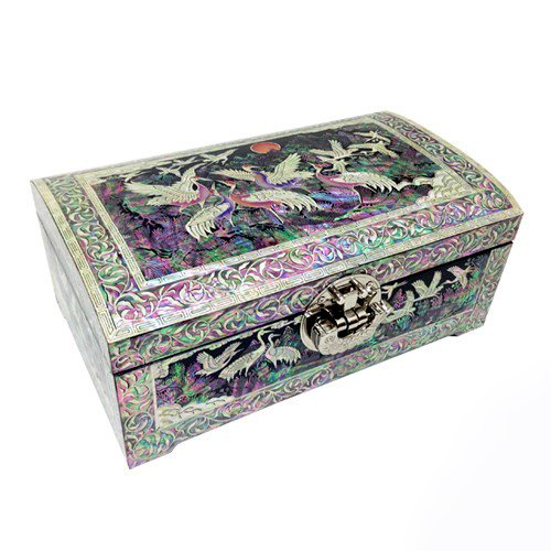 Mother of Pearl Inlay Crane and Moon Design Lacquer Decorative Wooden Handcrafted Black Velvet Jewelry Trinket Keepsake Treasure Box Case Chest Organizer -