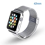 Leesentec Apple Watch Band 42mm Stainless Steel Replacement Bracelet Strap [Adapters Included] for iWatch