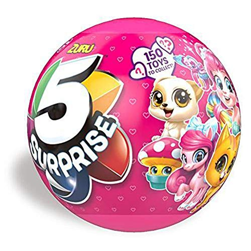 RUI 8.5CM Surprise Ball 5 Petal 10CM Surprise Petal Ball Ocean Series Multi-Layer Surprise Creative Novelty Gift Doll Toy 5 Pack Blue Pink,Pink