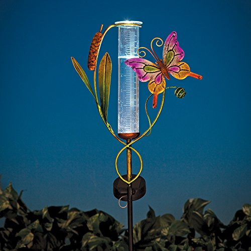 Bits and Pieces - Solar Powered Butterfly Rain Gauge Garden Statue - Solar Panel Captures Sunlight and Illuminates LED Glass Rainfall Tube