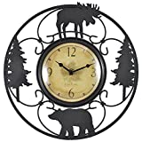 FirsTime 55586 Wildlife Wire Wall Clock, Brown, Black For Sale