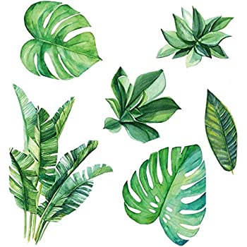 Amaonm Removable 3D Nordic Green Plants Fresh Leaves Wall Decals Nursery Decor Leaf Wall Stickers DIY Wall Art Decor Decoration Sticker for Home Living Room Girls Bedroom Offices (Leaf)
