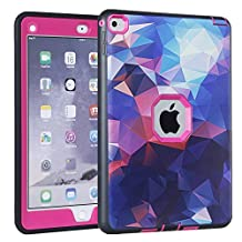 iPad Air 2 Case, iPad 6 Case, KAMII Shock-Absorption Three Layer Hybrid Armor Defender High Impact Resistant Full-Body Protection Case Cover for Apple iPad Air 2/ iPad 6 (9.7 Inch) (Black+Rose)