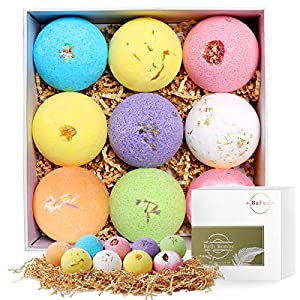 Bath Bombs Gift Set, BuFan 9 x 4.2oz Natural Luxurious Spa Gift Set With Relaxing Essential Oils Relaxation and Moisturizing, Perfect Valentines Birthday Christmas Gift for Women, Kids