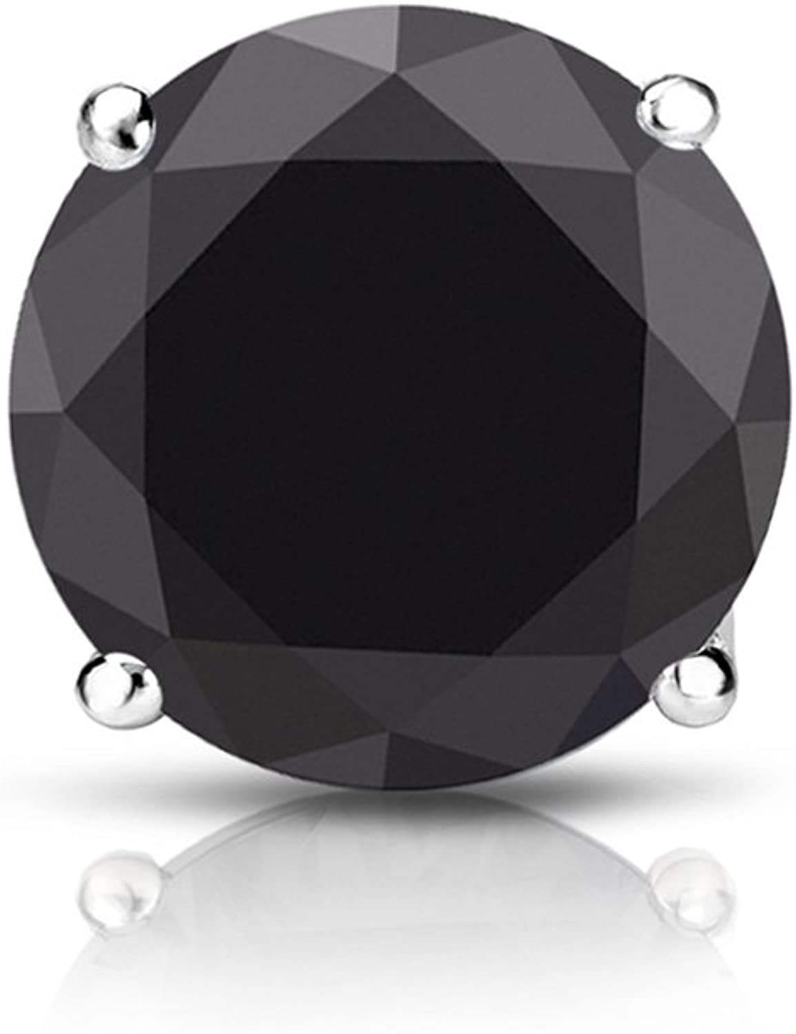 14k White Gold Round SINGLE Black Diamond Stud Earring (0.60cttw) 4-Prong Basket set with Push-back by Diamond Wish