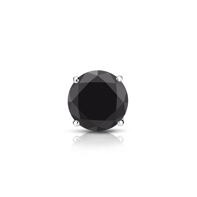 Diamond Wish 14k White Gold Round SINGLE Black Diamond Stud Earring (3/5cttw) 4-Prong Basket, Push-Back