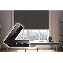 Springblinds 100% Blackout Battery running Motorized Roller shade with Romote Control -Cordless Top quality polyester foam blackout fabric Custom size shade Child safety