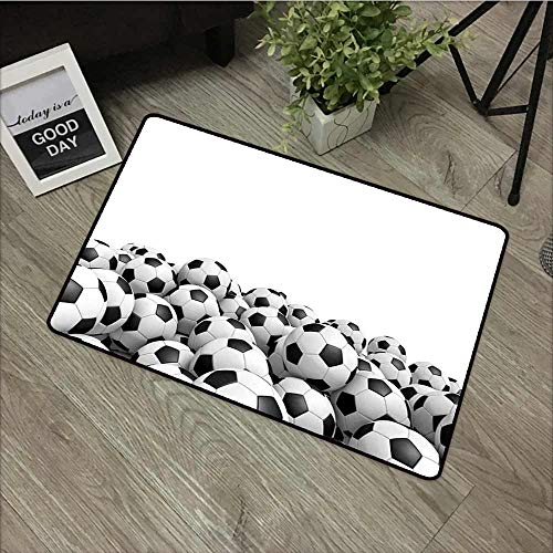 Fakgod Non Slip Doormat Sports Illustration of Soccer Ball Championship Tournament Victory Theme Stadium Team Play Rustic Home Decor 31