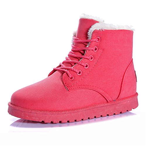 Ehuaxilo Women Boots Women Ankle Snow Boots New Warm Heels Shoes 01 Pink 9