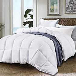 JURLYNE Clearance Sale, White Comforter Twin & Twin XL Size - Quilted Reversible Duvet Insert - Hypoallergenic Breathable for Winter - Fluffy Cotton Down Alternative Comforter