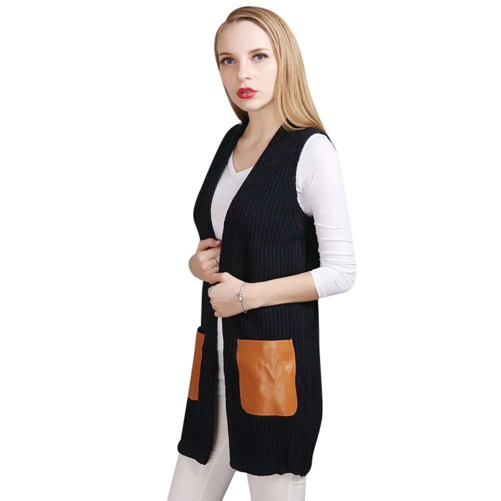 Elfjoy Women's Sweater Vest Sleeveless Lightweight Cardigan Knitted Open Front Vest With PU Pockets (Navy)