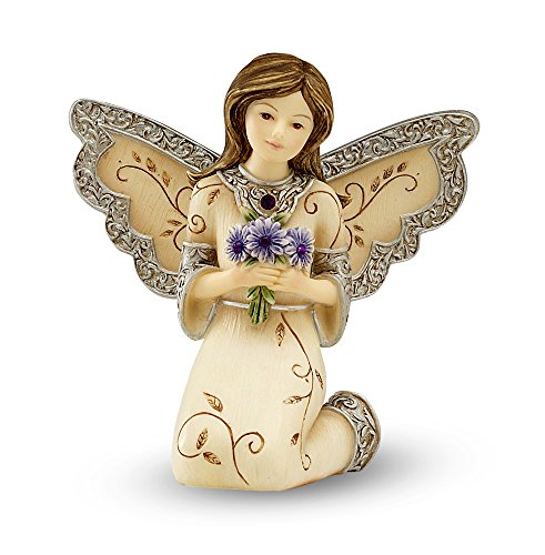 - Elements February Monthly Angel Figurine, Includes Amethyst Birthstone, 3-Inch