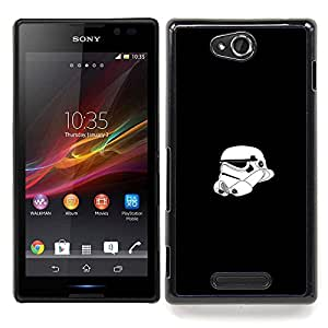 "Qstar Arte & diseño plástico duro Fundas Cover Cubre Hard Case Cover para Sony Xperia C (Tormenta Tropa Casco"")"