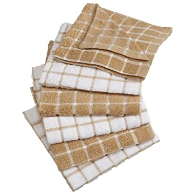 DII 100% Cotton, Machine Washable, Ultra Absorbant, Basic Everyday 12 x 12  Terry Kitchen Dish Cloths, Windowpane Design, Set of 6- Pebble
