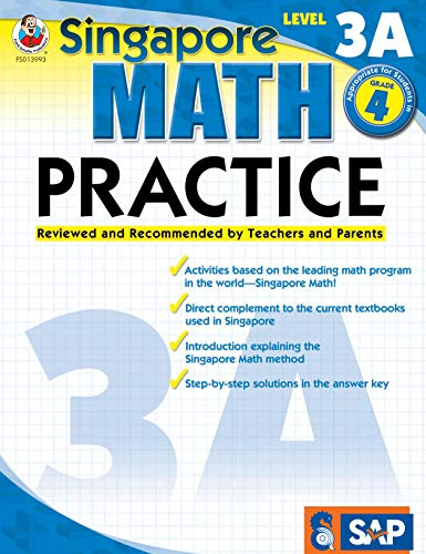 - Singapore Math - Level 3A Math Practice Workbook for 4th Grade, Paperback, Ages 9-10 with Answer Key