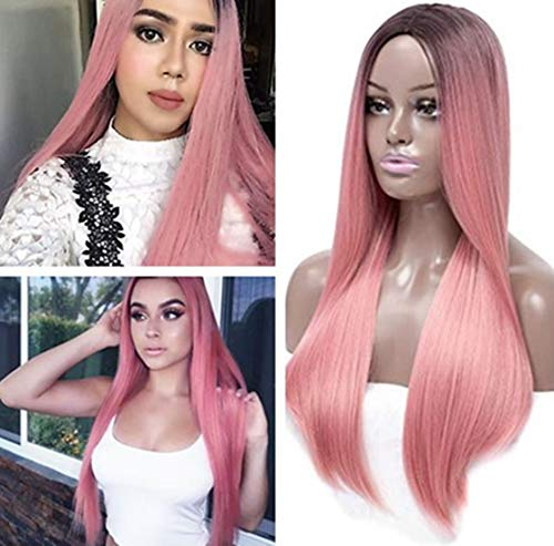 Cool2day Long Straight Pink Ombre Wig Long Straight False Hair Synthetic Wigs for Black Hair Root -