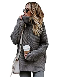 Naivikid Womens Turtleneck Casual Long Sleeve Chunky Knit Pullover Sweater Tops