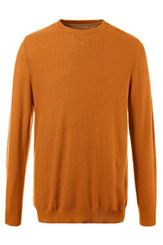 JP 1880 Herren große Größen Pullover aus Strukturstrick | Rundhalsausschnitt | Rippbündchen | bis Größe 7XL gelb-gold 6XL 705704 60-6XL