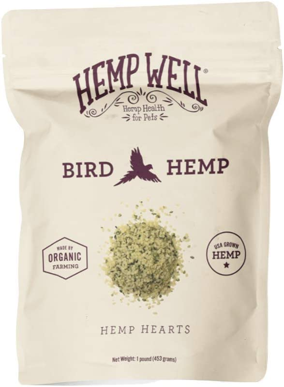 Hemp Well Organic Hemp Hearts –Reduces Feather Plucking, Promotes Relaxation, Immune Support, Organically Sourced, USA Grown, GMO Free – 1 Pound Bag