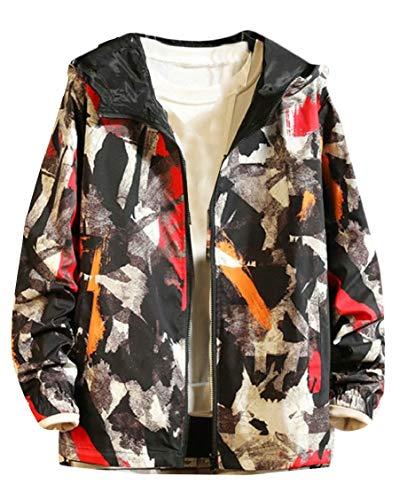 (Hajotrawa Men's Coat Hoodie Camo Cargo Reversible Jacket Red L)