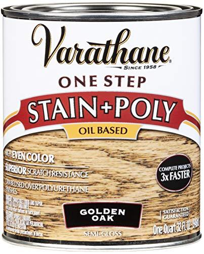 Rust-Oleum 225244 One Step Stain & Polyurethane, Golden Oak; Quart