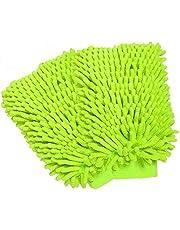 Car wash mitt microfiber chenille Auto vehiculo limpieza guantes, rasguñar - libre, libre de pelusa, ultra - suave, uso en seco o mojado, paquete de 2 (verde lima)