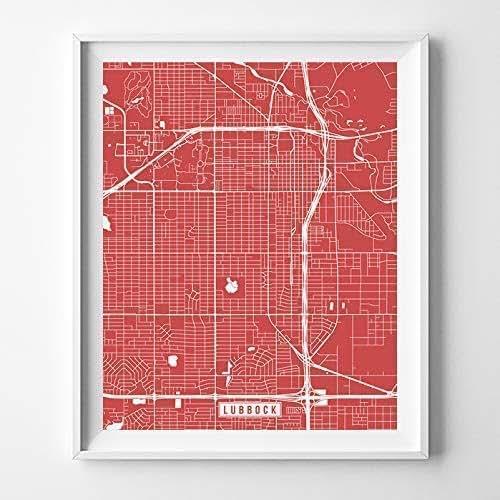 Amazon.com: Lubbock Texas Map Print Street Poster City