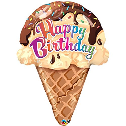 Qualatex Happy Birthday Ice Cream Cone Shaped 27 Inch Foil Balloon (Cone Shaped Mylar Balloon)