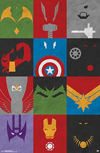 Trends International Avengers Minimalist Grid Wall Poster 22.375